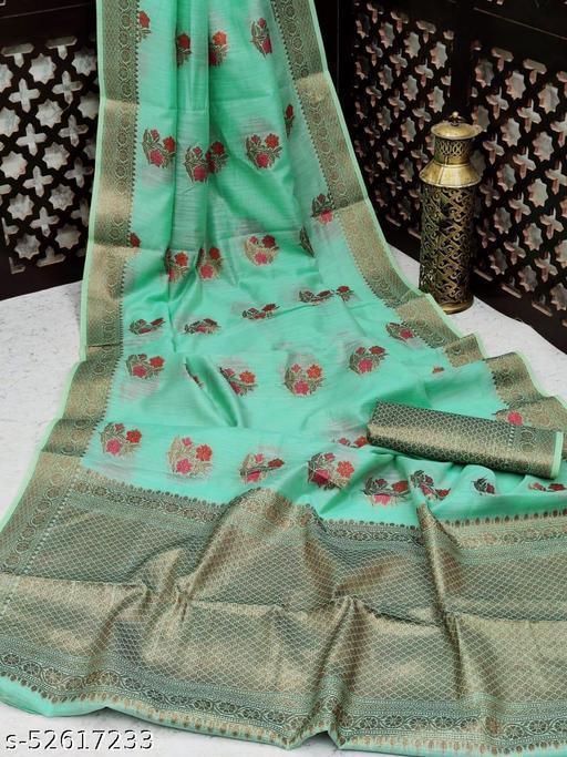 KB30 Light weight Linen Cotton saree with antic Zari Weaving Border and Pallu and Meenakri Motifs all over