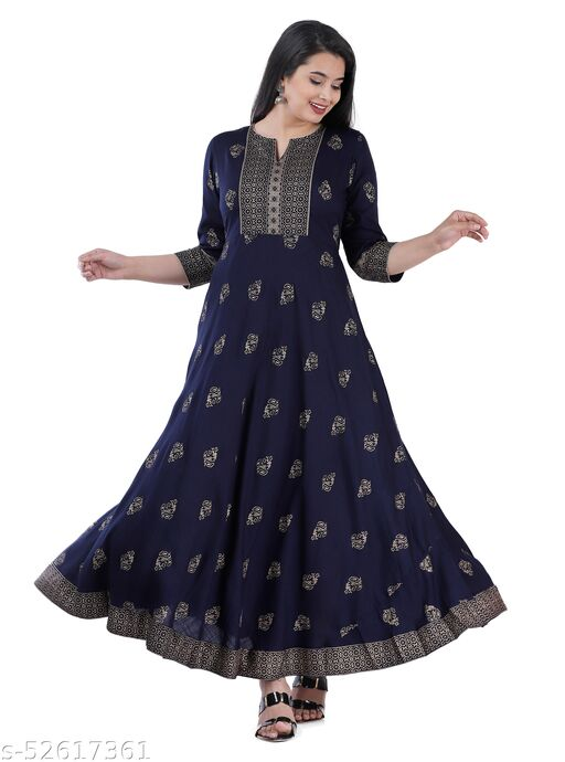 Rayon Gold Printed Anarkali Gown