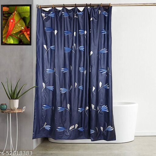 "CASA-NEST Brush Printing Design Waterproof Shower Curtain for Bathroom, 7 Feet PVC Curtain with 8 Hooks – 54""x 84"", Multicolour-9"
