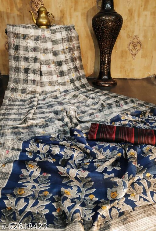 KB30 Raw silk Katha Printed Cream and White coloured Saree with Soft cotton Ikkat Printed Black  Blouse piece