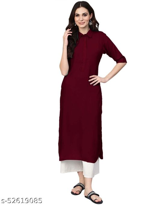 Women's Rayon Solid Stitched Maroon Color Kurti