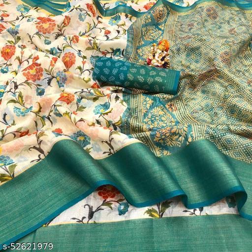 Cotton Silk Rama & Yellow Color Printed & Zari Patta Fashion Saree
