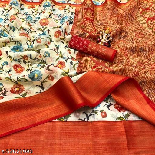 Cotton Silk Red & Yellow Color Printed & Zari Patta Fashion Saree