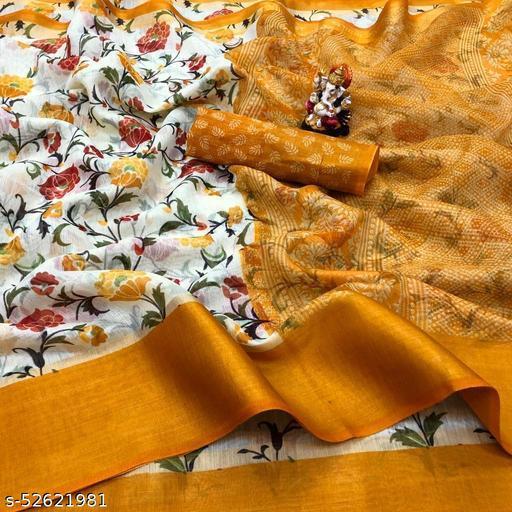 Cotton Silk Yellow & Yellow Color Printed & Zari Patta Fashion Saree