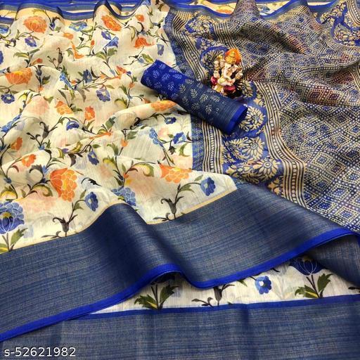 Cotton Silk Royal Blue & Yellow Color Printed & Zari Patta Fashion Saree