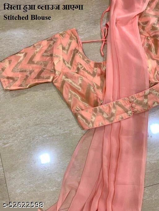 orange georgette plain  Saree With Stitched Bluse Women's saree
