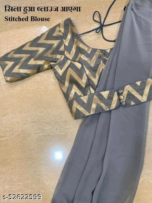 grey georgette plain  Saree With Stitched Bluse Women's saree