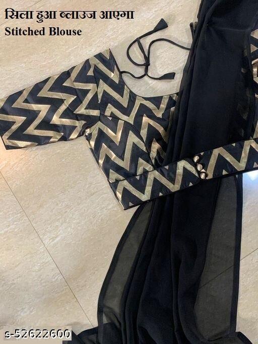black georgette plain  Saree With Stitched Bluse  Women's saree