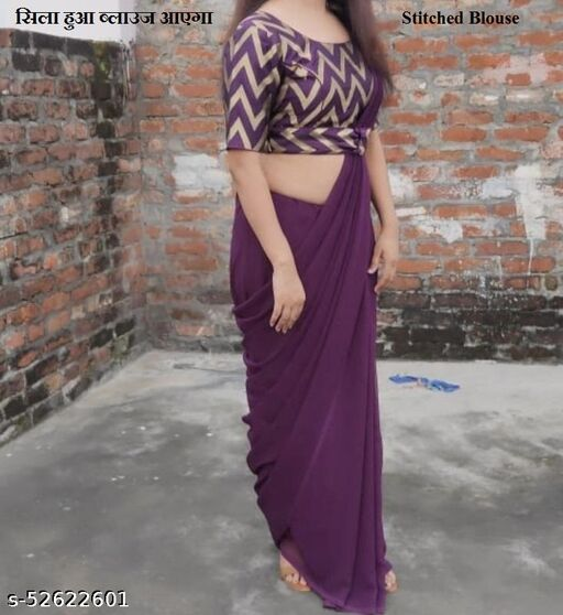 wine georgette plain Saree With Stitched Bluse Women's saree