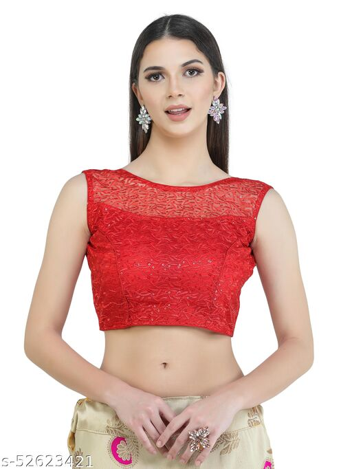 H3F Style Shifly Cotton Half Net On Front Neck Red Color With Half Sleeves Inside  Blouse For Women
