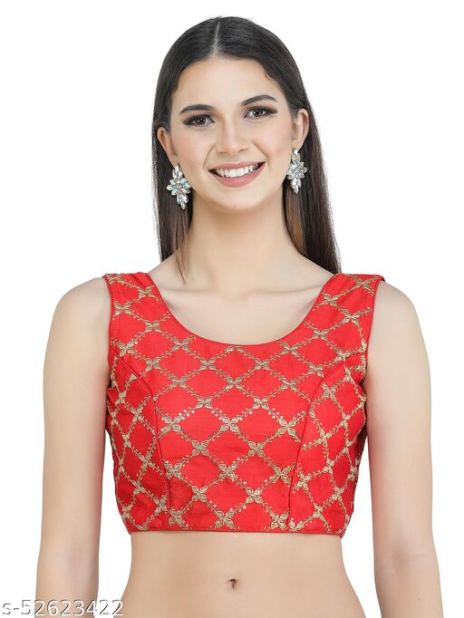 H3F Style Zari Embroidery Red Silk Blouse With Half Sleeves Inside For Women