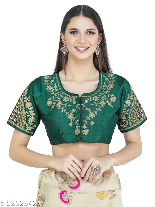 H3F Style Zari Work On Front Back & Half Sleeves Green Color Blouse For Women