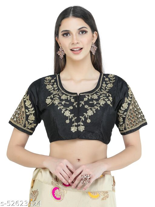 H3F Style Zari Work On Front Back & Half Sleeves Black Color Blouse For Women