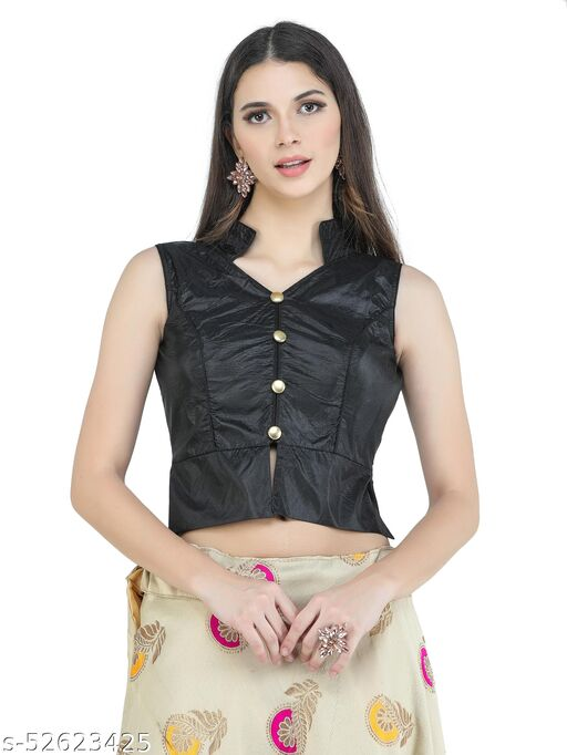 H3F Style Long Crop Top Blouse With Neck Collar & Half Sleeves Inside Black Color Blouse For Women