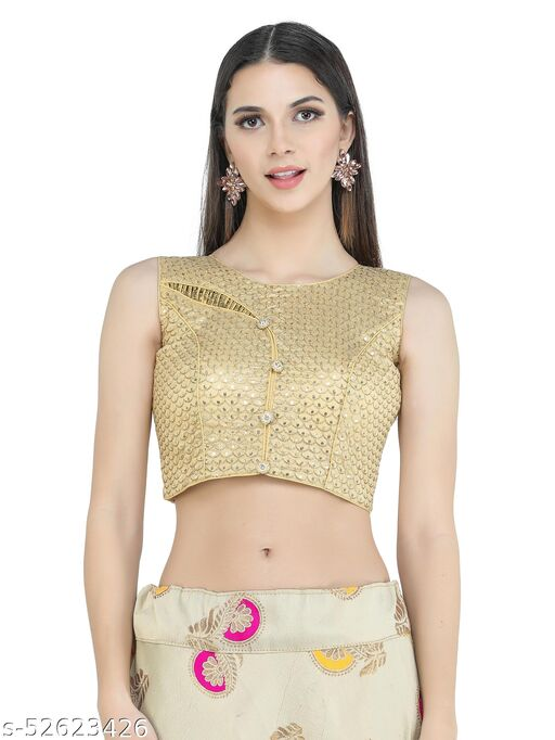 H3F Front Design Blouse With Sequinned Half Sleeves Inside Golden Color Blouse For Women
