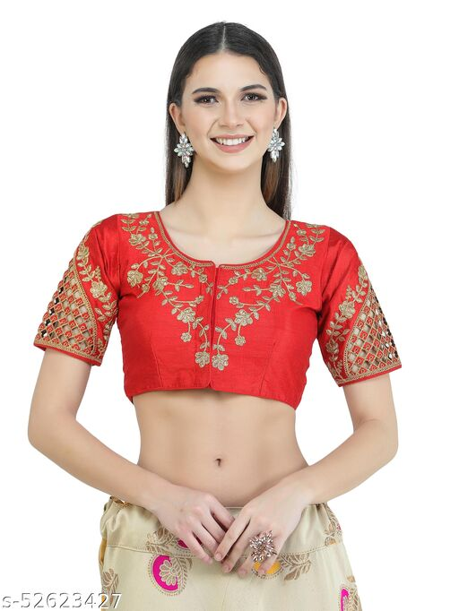 H3F Style Zari Work On Front Back & Half Sleeves Red Color Blouse For Women