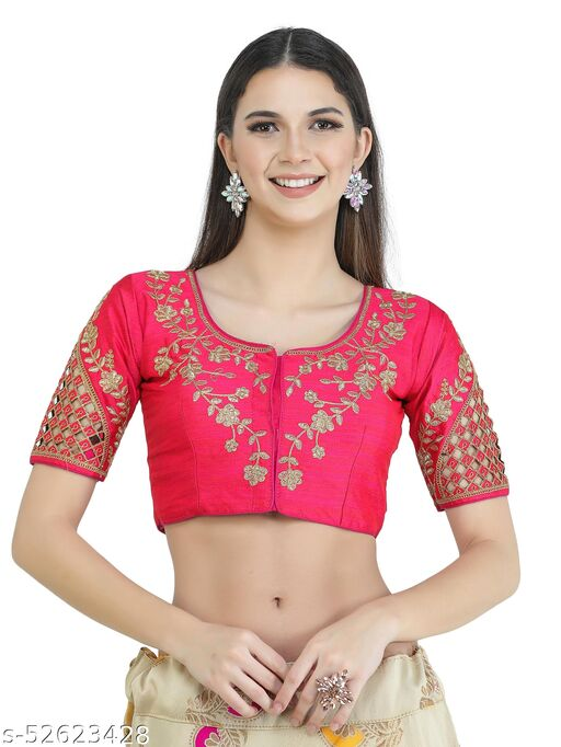 H3F Style Zari Work On Front Back & Half Sleeves Rani Color Blouse For Women