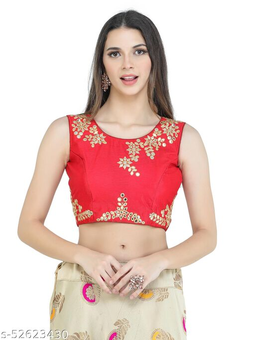H3F Style Mirror Handcrafted Work On Front& Cotton Fabric Red Color Blouse For Women