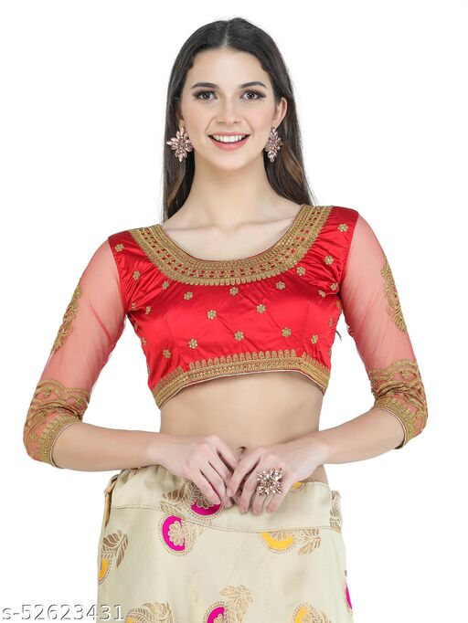 H3F Style Handcrafted Zari Work On Front, Back & Long Net Sleeves Red Color Blouse For Women