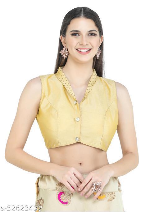 H3F Style V Collar Neck Phantom Silk Golden Blouse With Half Sleeves Inside For Women
