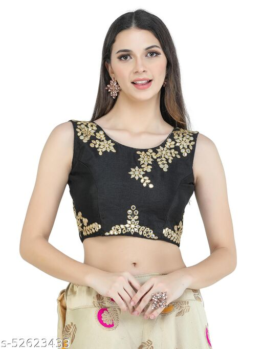 H3F Style Mirror Handcrafted Work On Front& Cotton Fabric Black Color Blouse For Women