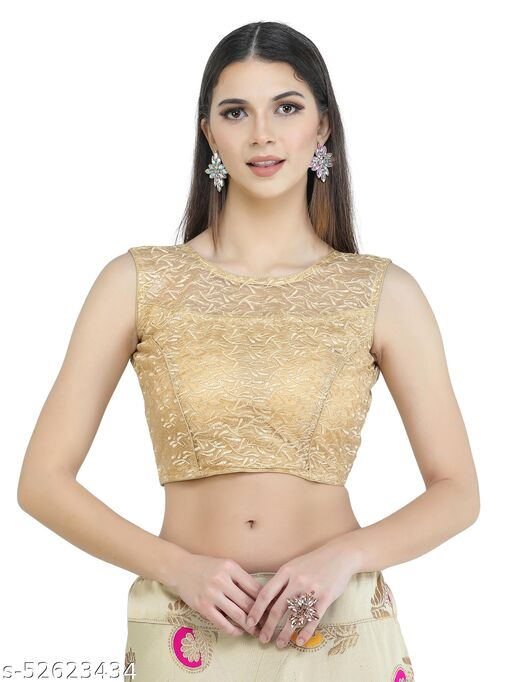 H3F Style Shifly Cotton Half Net On Front Neck Golden Color With Half Sleeves Inside  Blouse For Women
