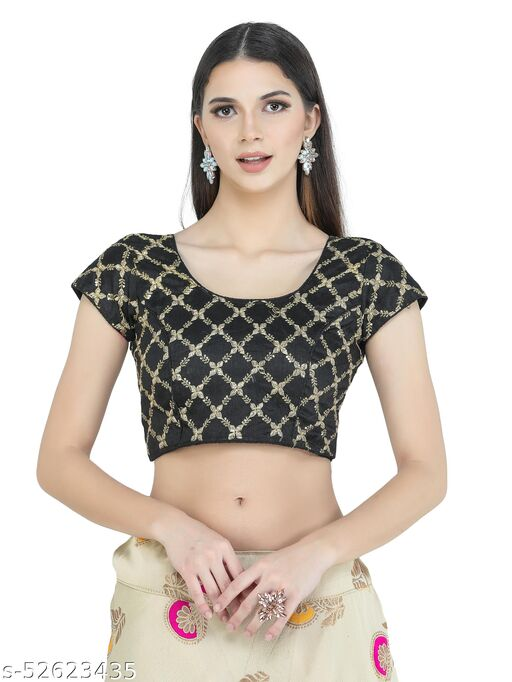 H3F Style Zari Embroidery Black Silk Blouse With Half Sleeves Inside For Women