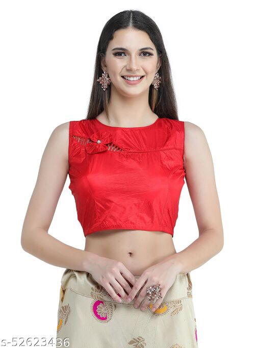H3F Style Flower Boutique Pattern With Half Sleeves Inside Red Color Blouse For Women