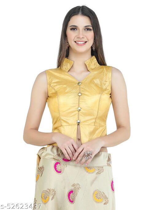 H3F Style Long Crop Top Blouse With Neck Collar & Half Sleeves Inside Golden Color Blouse For Women