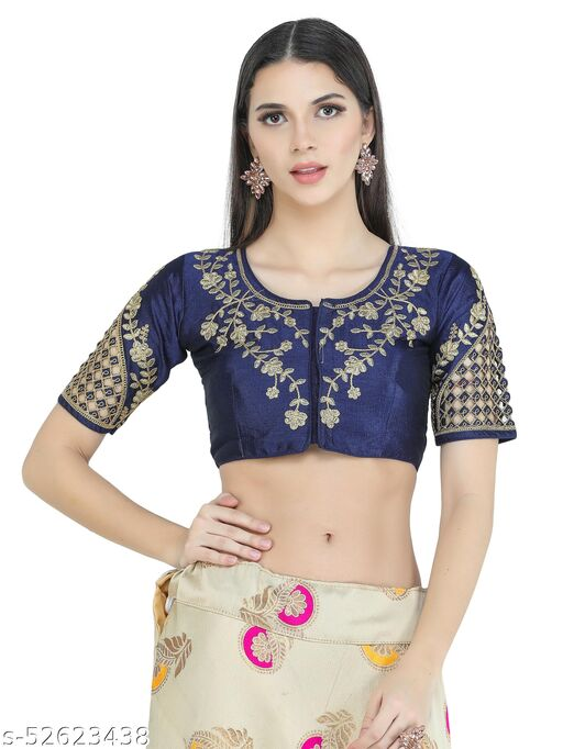 H3F Style Zari Work On Front Back & Half Sleeves Blue Color Blouse For Women