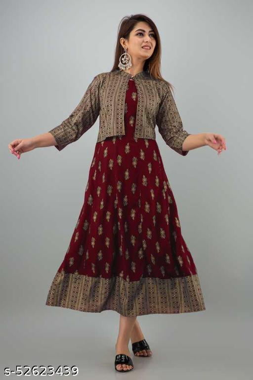 Alori Women Anarkali Kurta With Jacket Set(Mahroon)