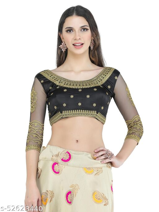 H3F Style Handcrafted Zari Work On Front, Back &Long Net Sleeves Black Color Blouse For Women