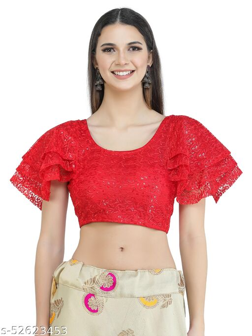 H3F Style Sequinned Work Butterfly Sleeves Red Color Blouse For Women