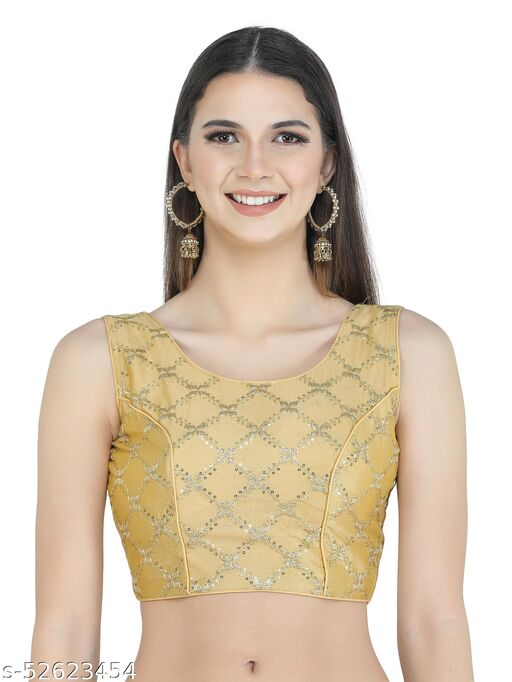 H3F Style Zari Embroidery Golden Silk Blouse With Half Sleeves Inside For Women