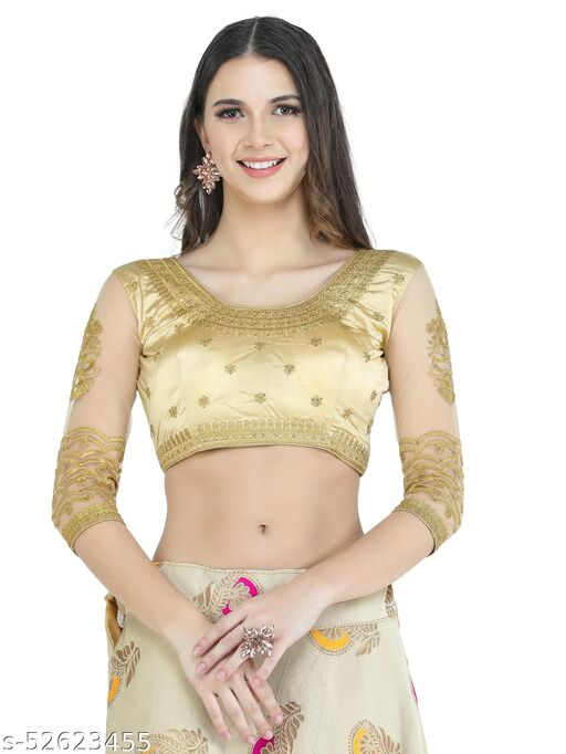 H3F Style Handcrafted Zari Work On Front, Back &Long Net Sleeves Golden Color Blouse For Women