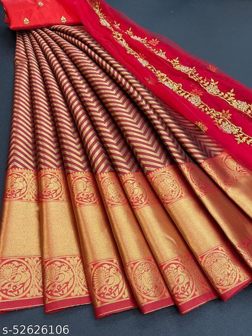 ROSE CLOUD Kanjiveram Silk Zari lehanga with blouse along with cutwork Duppta HALF SAREE
