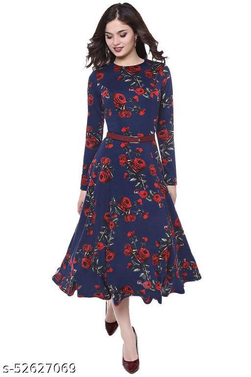 Manshav Women's Fit And Flare Fancy Western Cotton Midi Dress