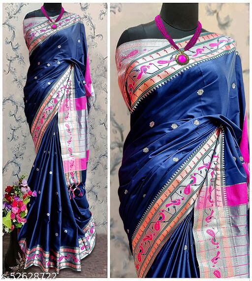 Mor Popat Traditional Paithani Cottton Silk Sarees With Contrast Blouse Piece (Navy & Silver)