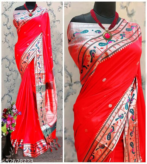 Mor Popat Traditional Paithani Cottton Silk Sarees With Contrast Blouse Piece (Red & Silver)