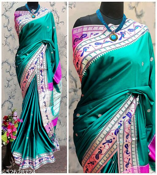 Mor Popat Traditional Paithani Cottton Silk Sarees With Contrast Blouse Piece (Chintamani & Silver)