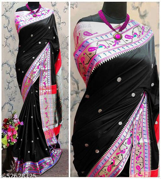Mor Popat Traditional Paithani Cottton Silk Sarees With Contrast Blouse Piece (Black & Silver)