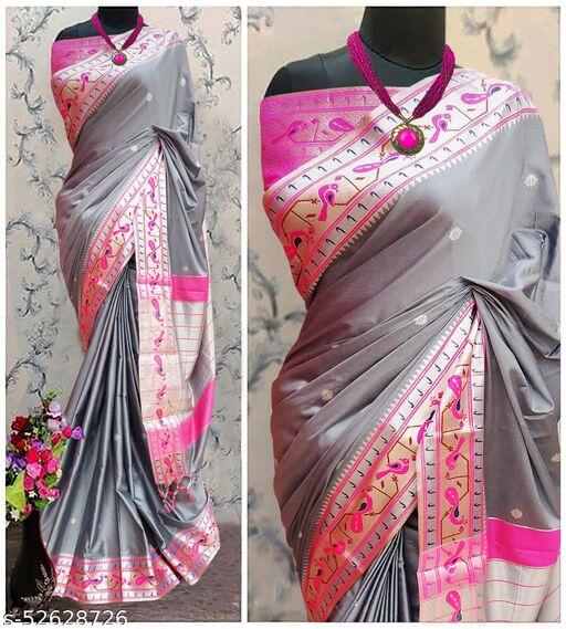 Mor Popat Traditional Paithani Cottton Silk Sarees With Contrast Blouse Piece (Grey & Silver)