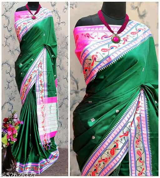 Mor Popat Traditional Paithani Cottton Silk Sarees With Contrast Blouse Piece (Green & Silver)