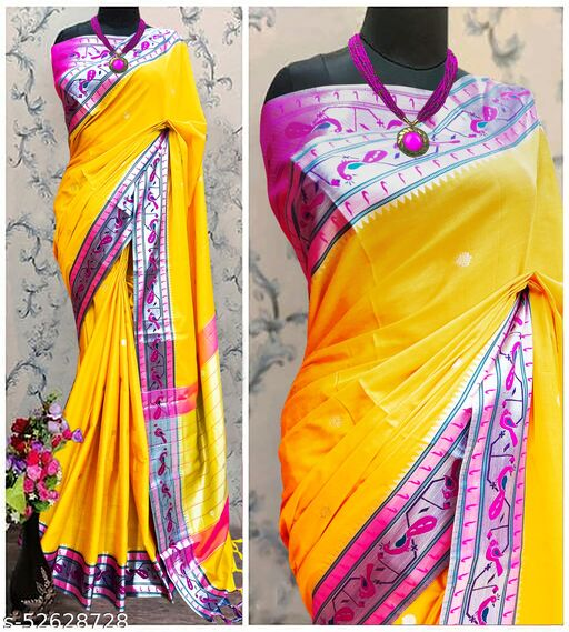 Mor Popat Traditional Paithani Cottton Silk Sarees With Contrast Blouse Piece (Yellow & Silver)