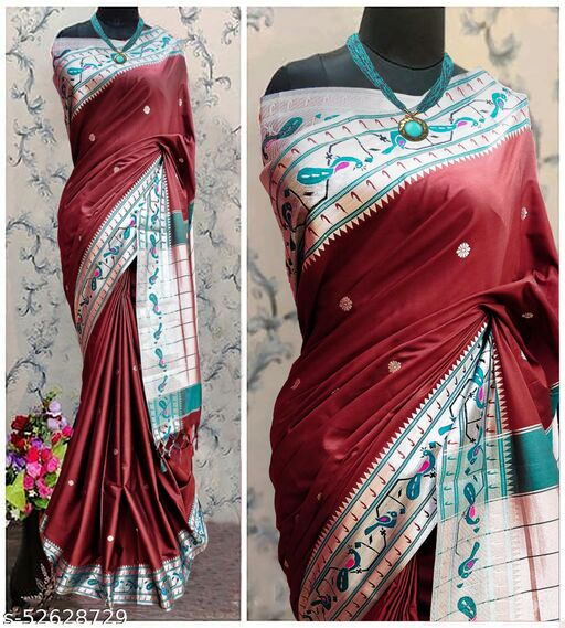 Mor Popat Traditional Paithani Cottton Silk Sarees With Contrast Blouse Piece (Brown & Silver)
