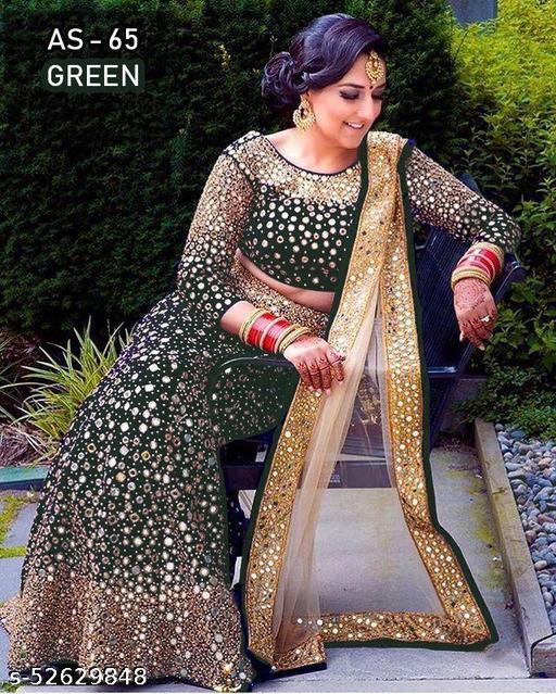 Bridal Wear Embroidered Velvet Mirror Lehenga Choli