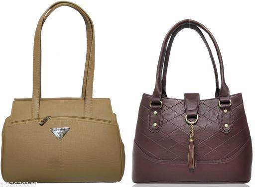 AZED Women's PU Leather Handbag - Combo Pack of 2 -Khaki & Brown (H001KK_H006BN)