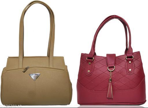 AZED Women's PU Leather Handbag - Combo Pack of 2 -Khaki & Maroon (H001KK_H006MN)
