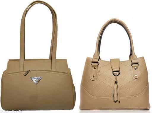 AZED Women's PU Leather Handbag - Combo Pack of 2 -Khaki & Khaki (H001KK_H006KK)
