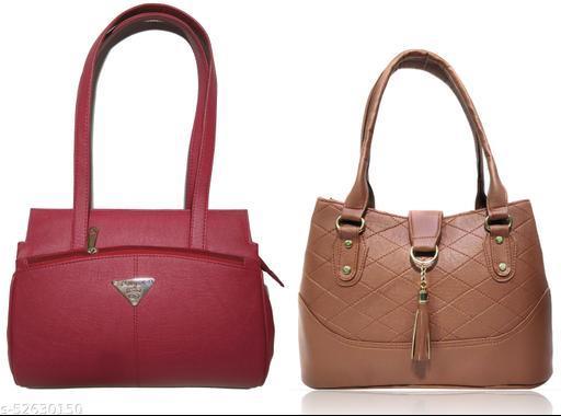 AZED Women's PU Leather Handbag - Combo Pack of 2 -Maroon & Tan (H001MN_H006TN)